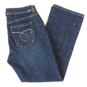 Chico's Platinum Crosshatch Dark Mid Rise Jeans